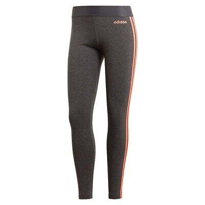adidas Essentials 3-Stripe Womens Ladies Fitness Gym Legging Tight Grey