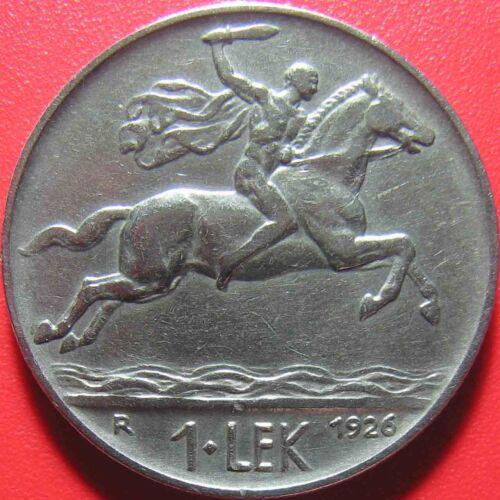 1926 ALBANIA KINGDOM 1 LEK CAPED MAN ON HORSE ROME MINT NICKEL COIN 8gr 26.6mm