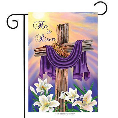 "Easter Cross Garden Flag Religious He Is Risen Briarwood Lane 12.5"" x 18"""