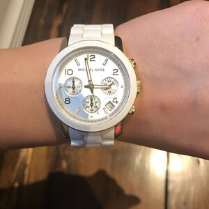 Michael Kors Runway White and Gold Silicone Watch