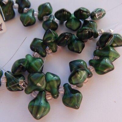 11x8mm Spade Green Black Stripe (10 beads) Czech Glass Beads