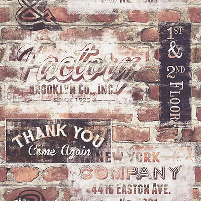 NEW YORK GRAFFITI OLD RED BROWN BRICK WALL EFFECT FEATURE WALLPAPER 238600 RASCH