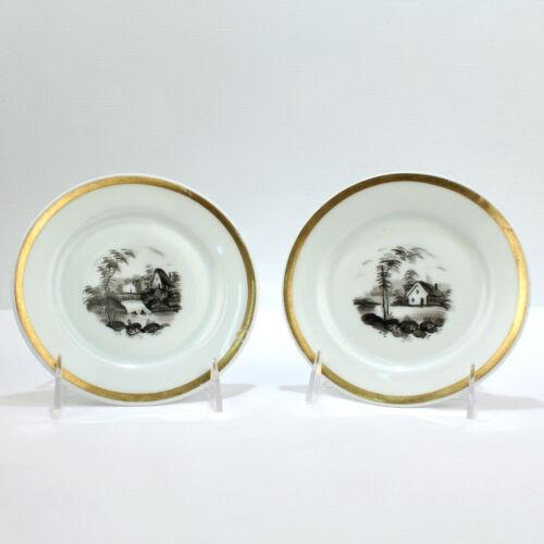 Antique Pair of Tucker & Hemphill Porcelain en Grisaille Plates -Philadelphia PC