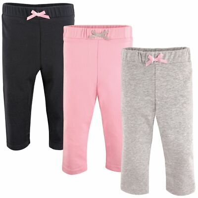 Luvable Friends Girl Baby Leggings, 3-Pack, Lt. Pink/Black