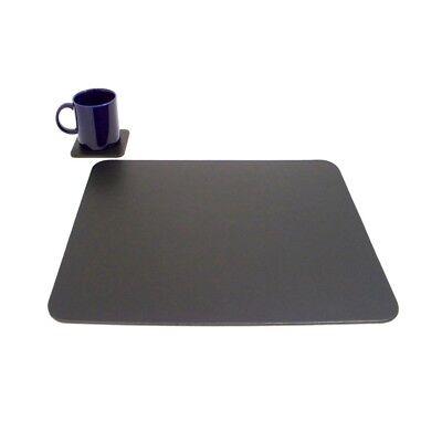 Bey Berk Black Leather Desk Pad W Coaster D433