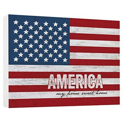 "Used, P. Graham Dunn AMERICAN FLAG Block Sign Painted Pine WOOD 7.25""x 5.5"" PATRIOTIC  for sale  Colonial Beach"