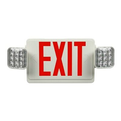 Global Industries 500781 Combination Exit Sign And Emergency Light Red Letters