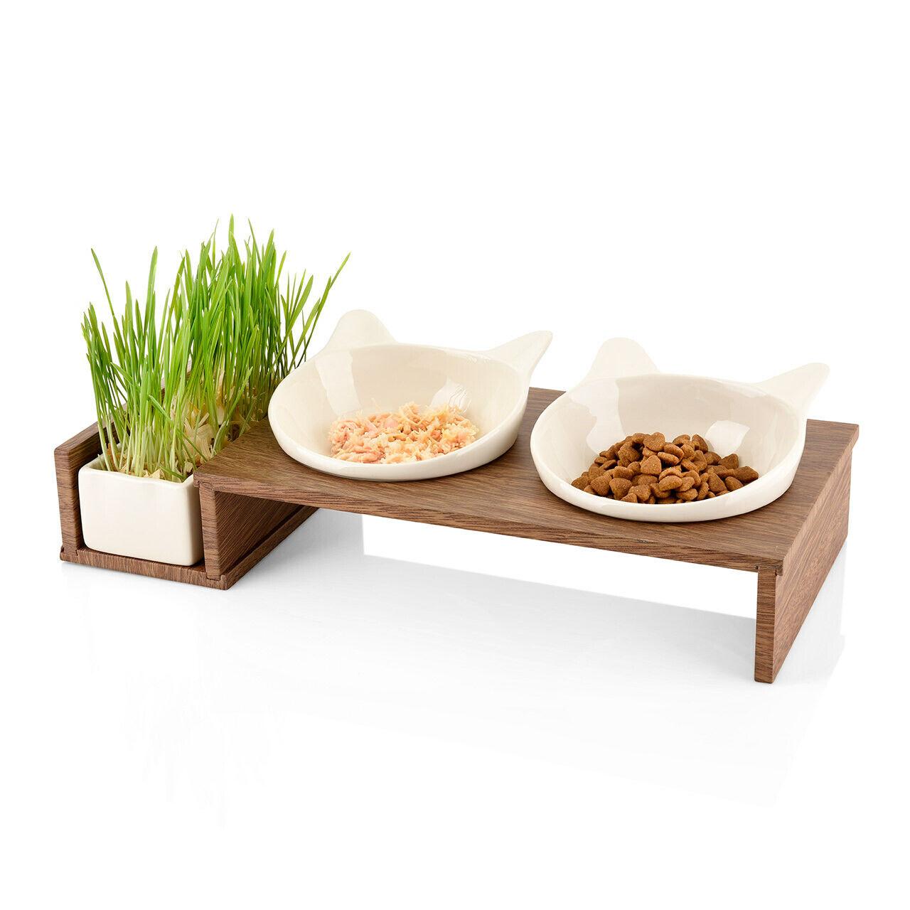 Futter Station für Katzen in einem Holzrahmen und Keramik Schalen für Katzengras