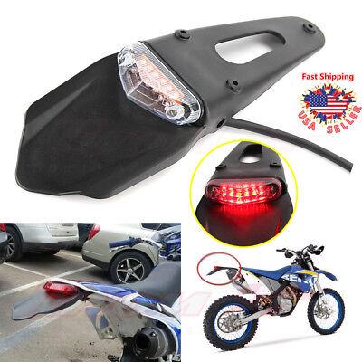 Motorcycle Tail Light Brake Run Fender Red LED Clear Off Road Dirt Enduro Bike
