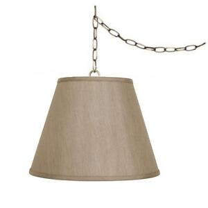 swag lamp chain hanging light fixture tan shade plug in ceiling lamp. Black Bedroom Furniture Sets. Home Design Ideas