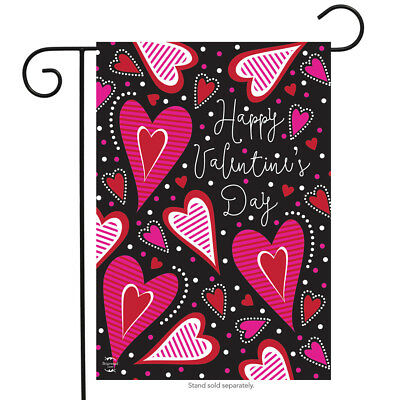 "FM38 DANCING HEARTS HAPPY VALENTINES DAY 12""x18"" GARDEN FLAG BANNER"