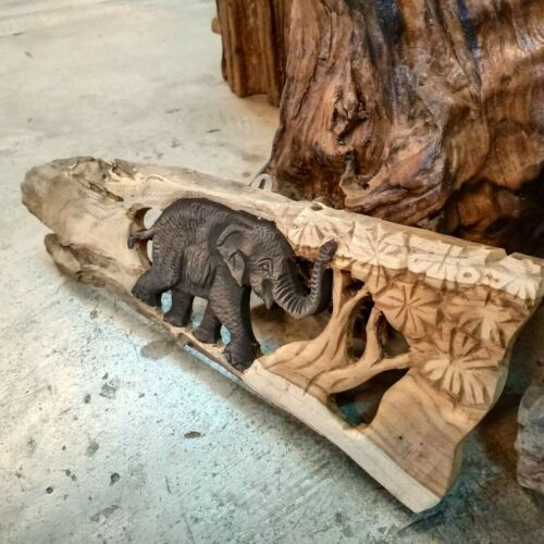 Elephant Teak Wood Carved Design Wall Hanging Picture Home Decor Christmas Gift