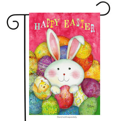 Happy Easter Garden Flag Bunny Decorated Eggs Briarwood Lane 12 5  X 18