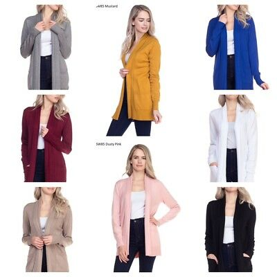 Women Cardigan Long Sleeve Solid Open Front Sweater Cardigan With Pocket(S-XL)