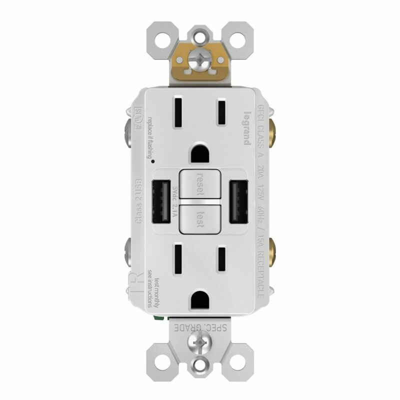 GFCI with USB-AA Charging Combo Outlet, Tamper Resistant, 15A, White