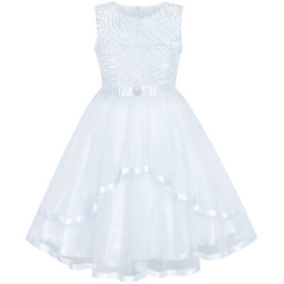 US STOCK! Flower Girl Dress White Wedding Party Bridesmaid Dress Size 4-12 (White Girl Dresses)