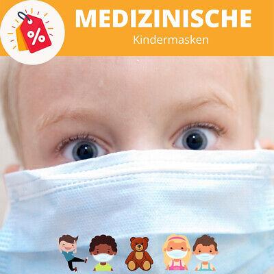 50 Medizinische Kinder Maske OP Masken Mundschutz Atemschutz EN14683 BLAU
