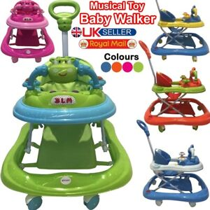 First Steps Baby Walker Push Along Bouncer Activity Music Ride On Car Melody New