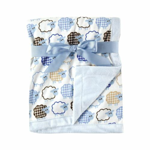 Hudson Baby Sheep Printed Blanket with Plush Backing, Blue