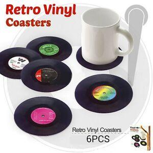Drinks Mats Coasters album slip Vinyl Cup mat Record Table Bar Set 6PCS