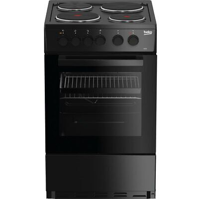 Beko AS530K Free Standing A Electric Cooker with Solid Plate Hob 50cm Black New