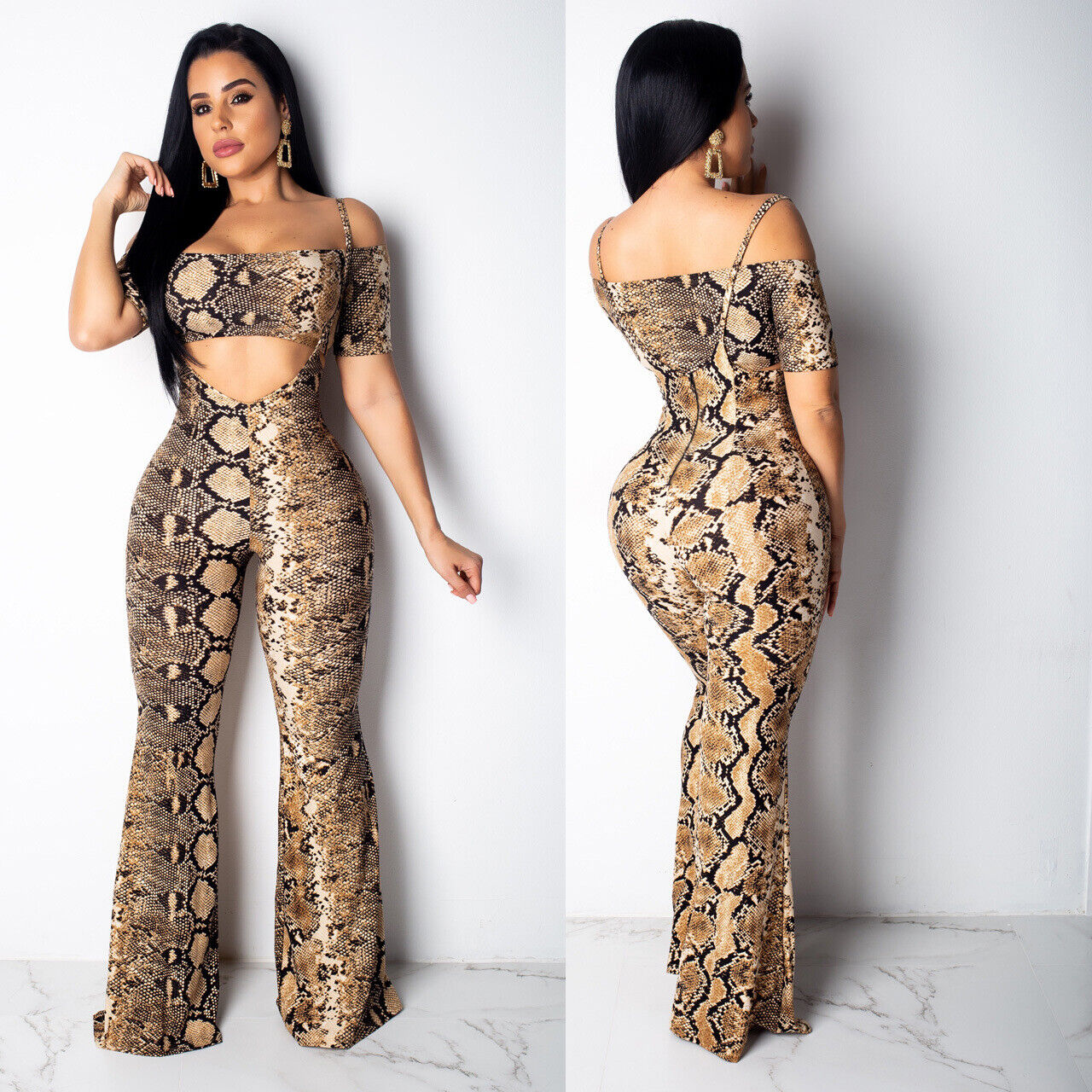 Women Strapless Crop Tops Add Suspender Trousers  Striped Bodycon  Jumpsuit 2pc