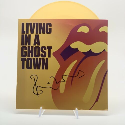 The Rolling Stones Signed Vinyl Living in a Ghost Town Ronnie Wood OnlineCOA