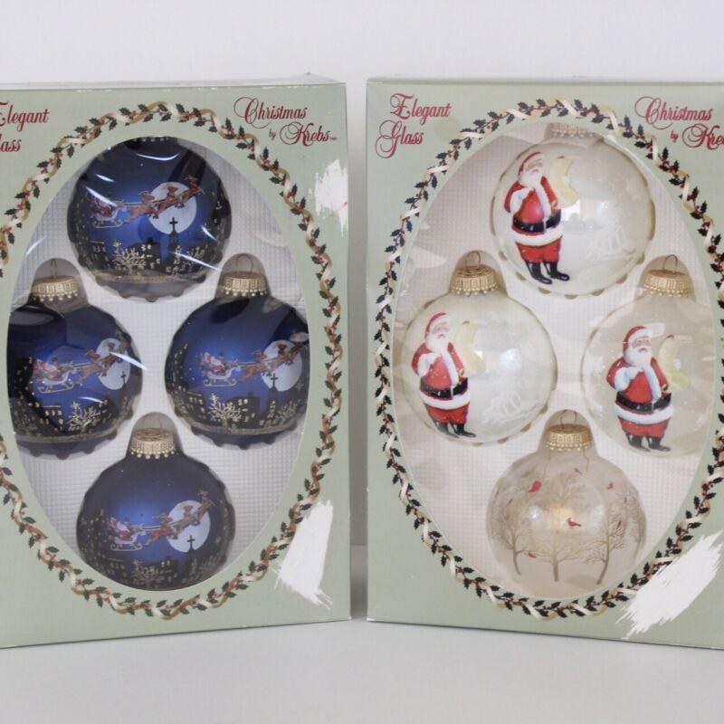 Krebs Night Before Christmas Glitter Drape Designer Glass Christmas Ornament Set