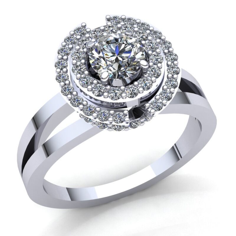 Natural 2ctw Round Cut Diamond Ladies Solitaire Halo Engagement Ring 14k Gold