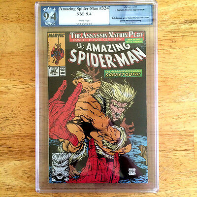 Amazing Spider-Man #324 PGX not CGC 9.4 NM TODD MACFARLANE cover Sabretooth