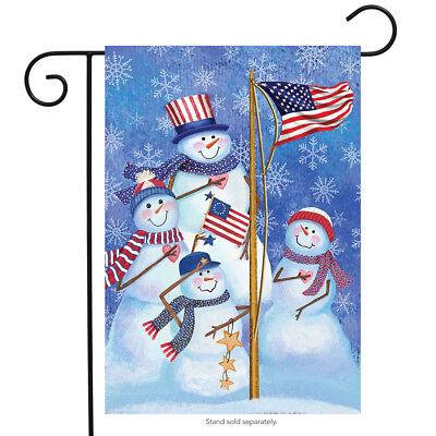 "Patriotic Snowmen Winter Garden Flag American Flag Snowman Family 12.5"" x 18"""