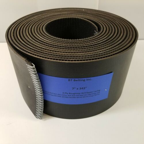 """7"""" x 343"""" New Holland Round Baler Belts 3 Ply Roughtop w/ Clipper Lacing"""