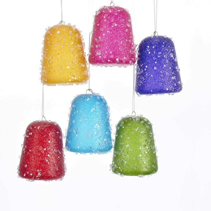 Kurt Adler Glittered Gum Drop Ornaments - Set of 6