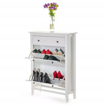 Shoe Storage Wood Cabinet Deluxe with Storage Drawer in White