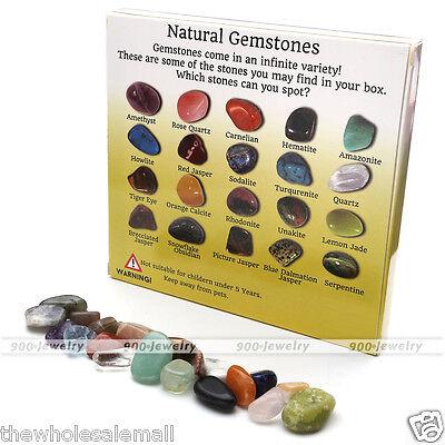 20x Natural Crystal Gemstone Polished Healing Chakra Stone Collection Display