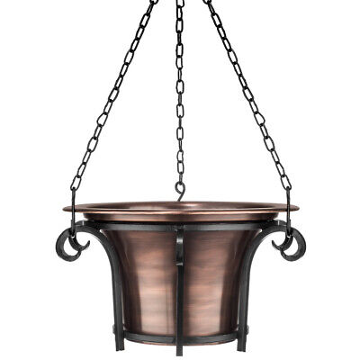 GAR511 H Potter Hanging Planter Metal Round Copper Finish Patio Balcony Deck