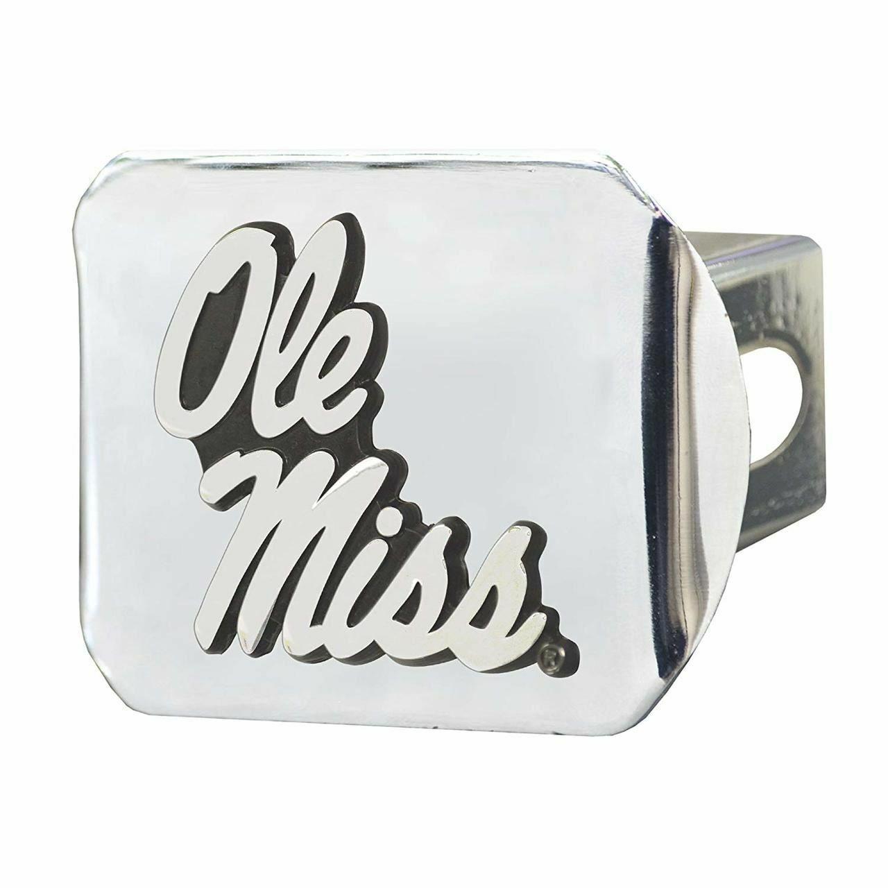 University of Mississippi Ole Miss METAL emblem red trim on black METAL Hitch Cover AMG