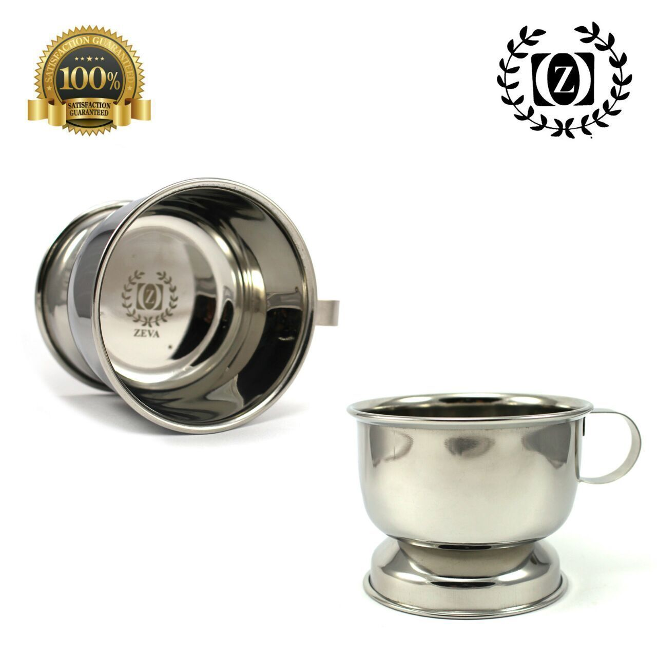 HIGH POLISHED GERMAN STAINLESS STEEL SHAVING CUP FOR SOAP/
