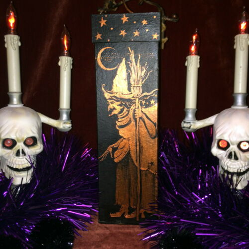 Fabulous OOAK Hand Painted Halloween Box by Ellie 2002 Witches Scaredy Cats