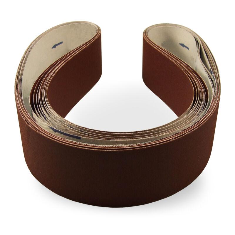 2 X 42 Inch 100 Grit Flexible Aluminum Oxide Multipurpose Sanding Belts, 6 Pack