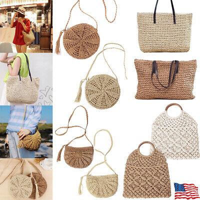 Summer Women Straw Rattan Beach Bag Woven Crossbody Shopping Handbag Tote Purse](Woven Beach Bag)