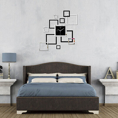 Wall Clock Sticker Home Office Decor 3D Mirror Surface Decal Modern Style DIY