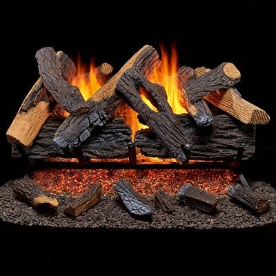 Vented Gas - Duluth Forge Vented Natural Gas Fireplace Log Set - 30 in., Heartland Oak