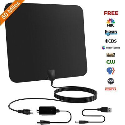TV-Antenne - Indoor-TV-Antenne Ultra-Thin Amplified 50 Meilen Reichweite Amplified Indoor-tv-antenne