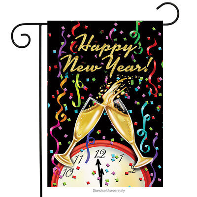 Happy New Year Garden Flag Champagne Confetti 12 5  X 18  Briarwood Lane