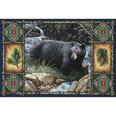 Bear Lodge Black Bear Single Cotton Tapestry Placemat  Lodge Tapestry Placemat