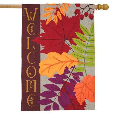 """Autumn Leaves Burlap House Flag Fall Welcome 28"""" x 40"""" Briar"""
