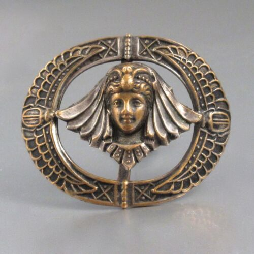 Vintage FrenchArt Deco Belt Buckle Ornament, Egyptian Goddess, Head of Woman