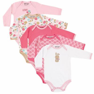 Luvable Friends Girl Long-Sleeve Bodysuits, 5-Pack, Pink Bunny