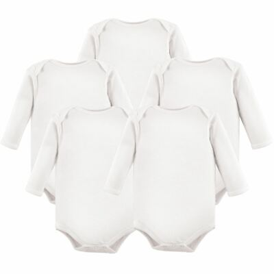 Luvable Friends Boy and Girl Long-Sleeve Bodysuits, 5-Pack, White